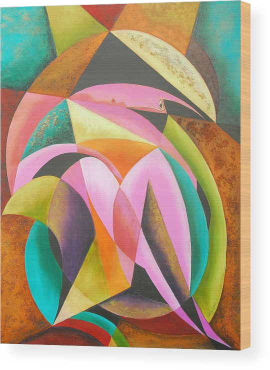 Abstract Expressionism Wood Print featuring the painting Odyssey Of Colors by Marta Giraldo