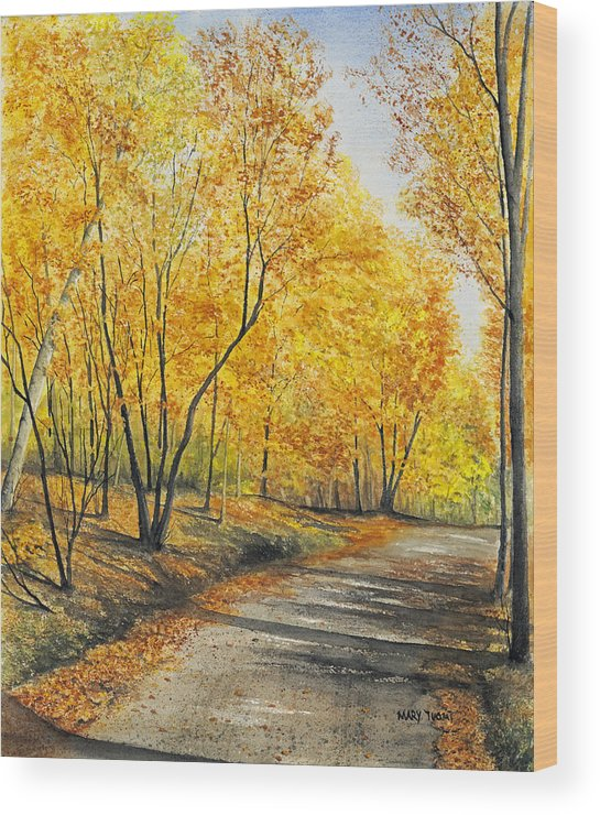 Autumn Wood Print featuring the painting On Golden Road by Mary Tuomi