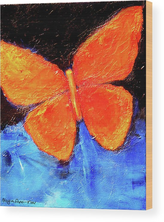 Butterfly Wood Print featuring the painting Orange Butterfly by Noga Ami-rav