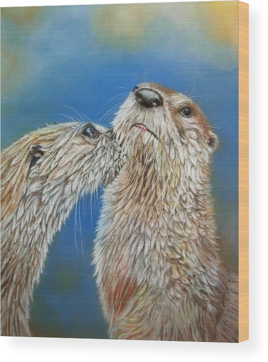 Wildlife Wood Print featuring the painting Otter Love by Ceci Watson