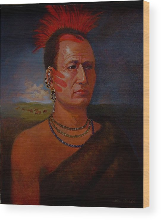 American Indian Plains In Headdress Wood Print featuring the painting Pawnee Chief Around 1820 by Alan Carlson