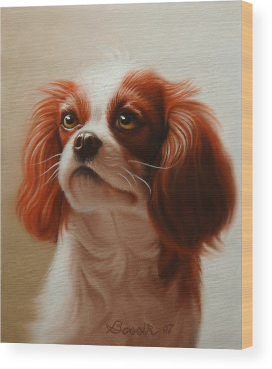 Cavalier King Charles Wood Print featuring the painting Pet Portrait Of A Cavalier King Charles Spaniel by Eric Bossik