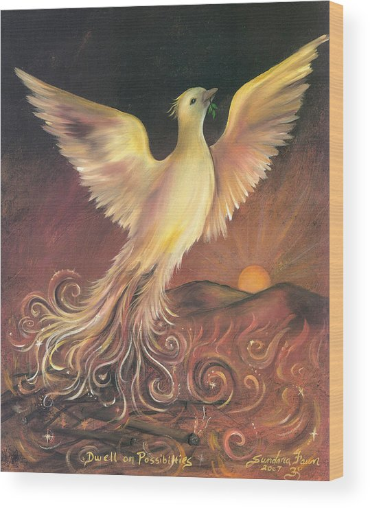 Phoenix Wood Print featuring the painting Phoenix Rising by Sundara Fawn