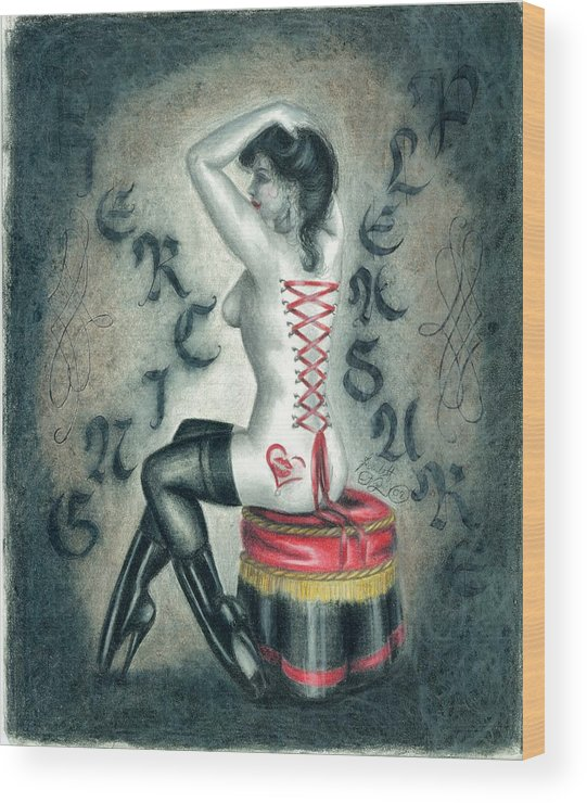 Erotic Wood Print featuring the drawing Piercing Pleasure by Scarlett Royal
