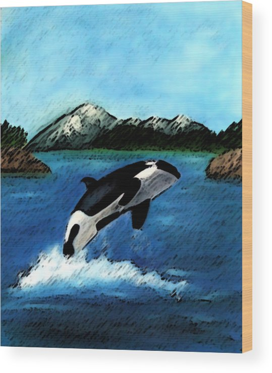 Orca Wood Print featuring the digital art Playful Orca by Mary Gaines