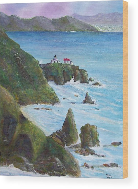 Lighthouse Wood Print featuring the painting Point Bonita Lighthouse by Tony Rodriguez