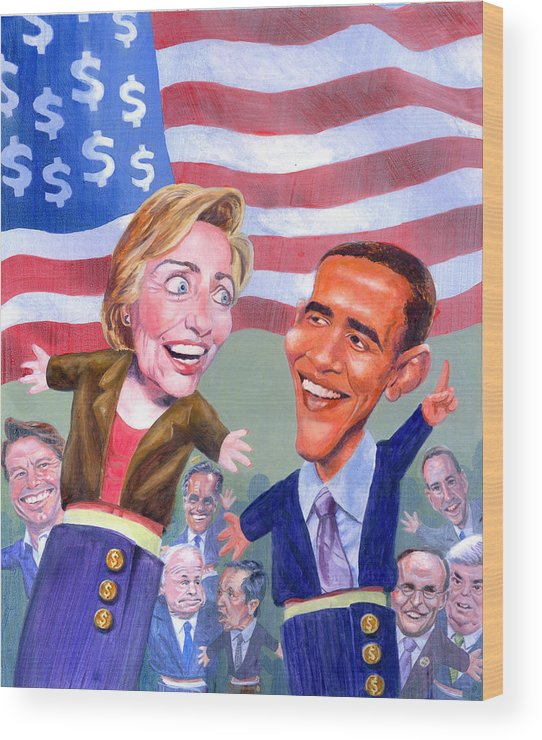 Hillary Clinton Wood Print featuring the painting Political Puppets by Ken Meyer