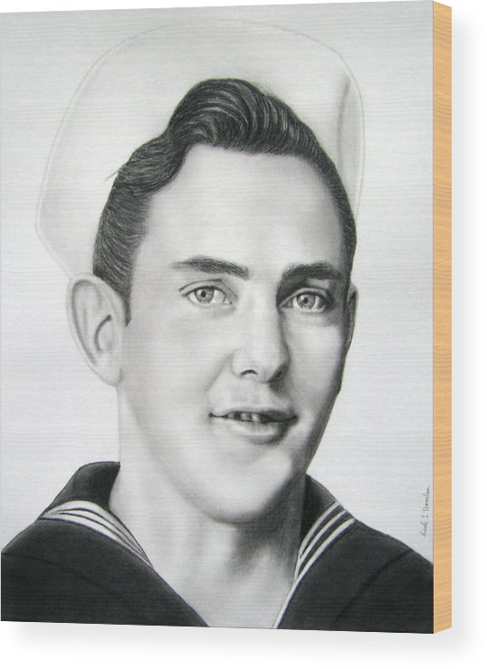 Portrait Wood Print featuring the drawing Portrait Of A Sailor by Nicole I Hamilton