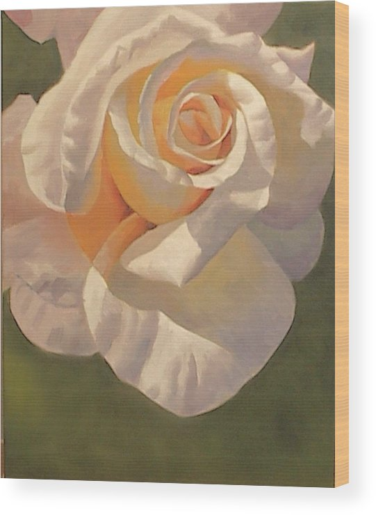 White Wood Print featuring the painting Purity Rose by Marilyn Tower