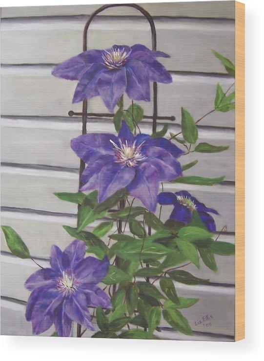 Florals Wood Print featuring the painting Purple Clematis by Elizabeth Ellis