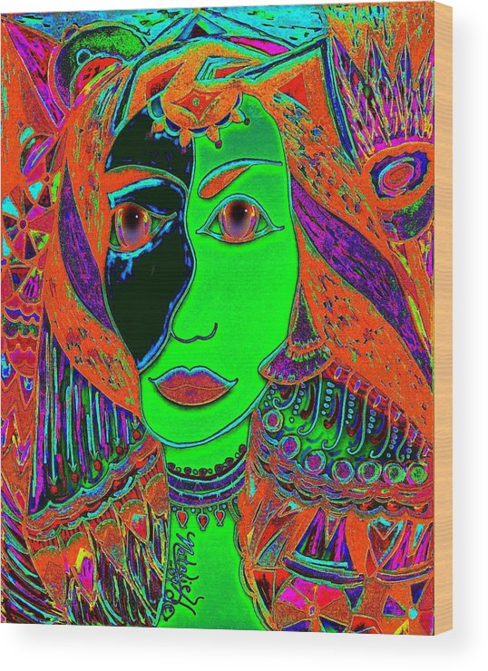 Queen Of The Nile Wood Print featuring the painting Queen Of The Nile by Natalie Holland