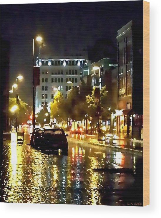 Lauren Radke Wood Print featuring the photograph Rainy Night In Green Bay by Lauren Radke