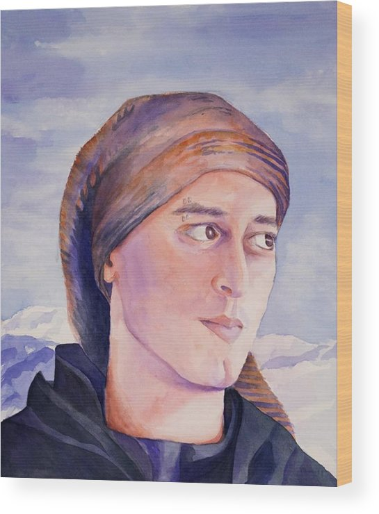 Man In Ski Cap Wood Print featuring the painting Ram by Judy Swerlick