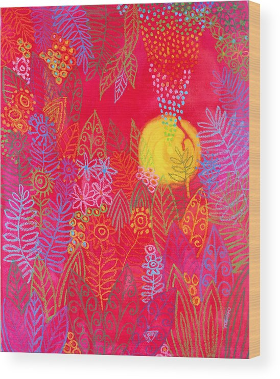 Red Jungle Sun Passion Tropical Exotic Carribean Wood Print featuring the painting Red Jungle Passionate Sun by Jennifer Baird