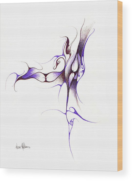 Abstract Wood Print featuring the drawing Rhapsody Of Contortion by Nathaniel Hoffman