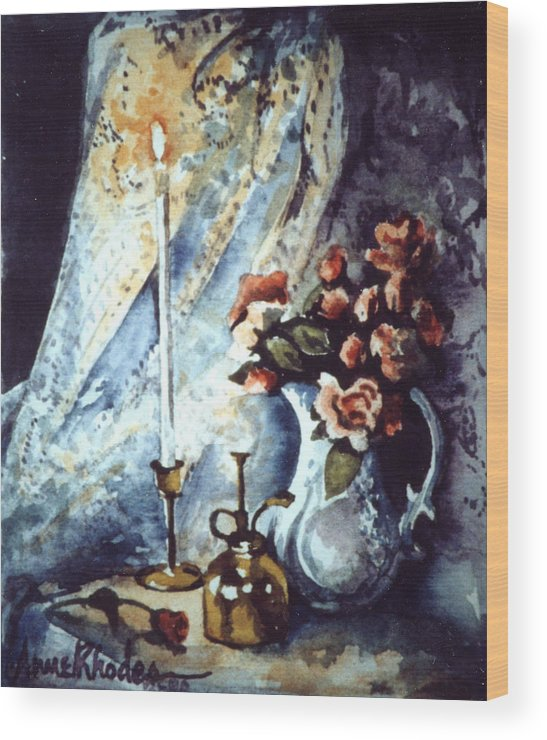 Miniature Wood Print featuring the painting Roses In Candllelight by Anne Rhodes