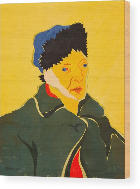 Van Gogh Wood Print featuring the painting Self Portrait With Bandaged Ear. After Vincent Van Gogh by Vitali Komarov