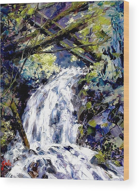 Landscape Wood Print featuring the painting Shepherds Dell Falls Coumbia Gorge Or by Jim Gola