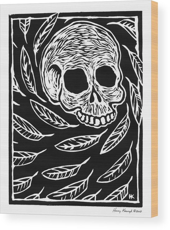 Krauzyk Wood Print featuring the print Skull And Feathers by Henry Krauzyk