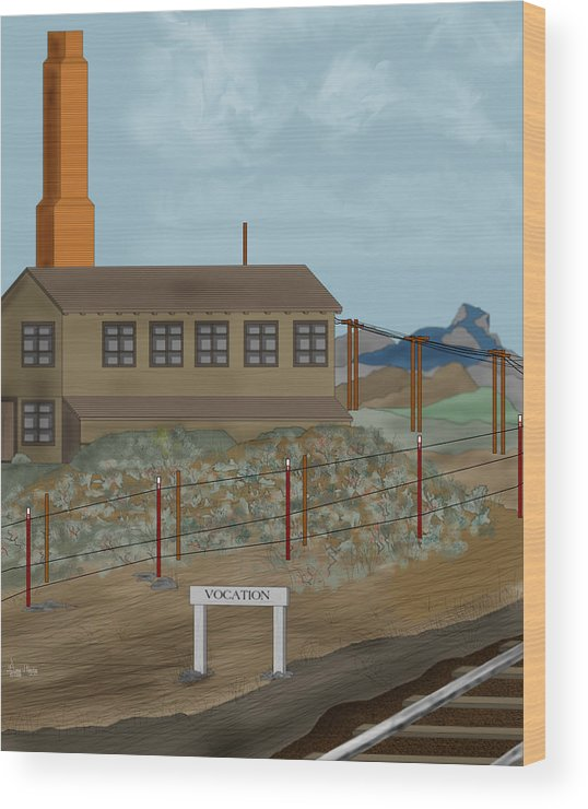 Camp Vocation Wood Print featuring the painting Smokestack And Heart Mountain At Camp Vocation by Anne Norskog