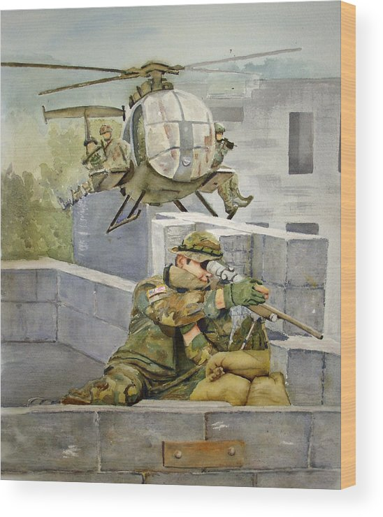 Soldier Wood Print featuring the painting Sniper Military Tribute by Kerra Lindsey