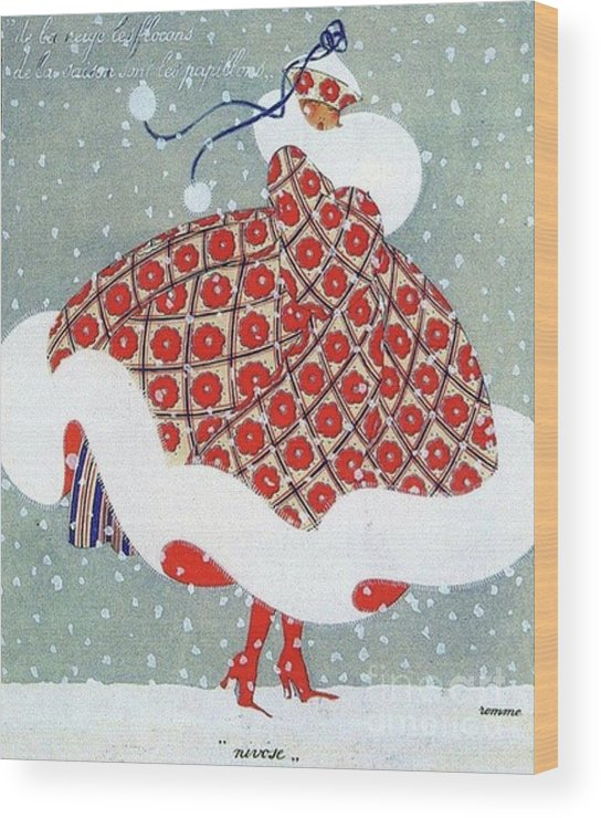 Snow Wood Print featuring the drawing Snow Girl by Grant Island Vintage