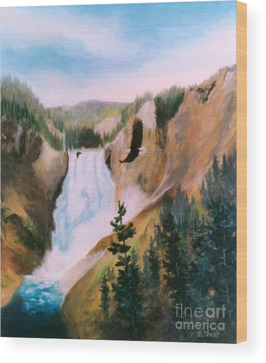 Waterfall Wood Print featuring the painting Soaring High II by Brenda Thour