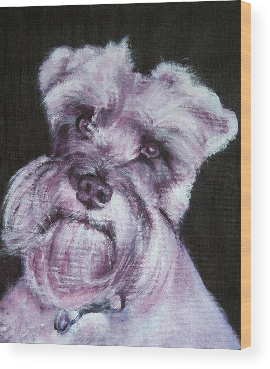 Schnauzer Wood Print featuring the painting Spike by Fiona Jack