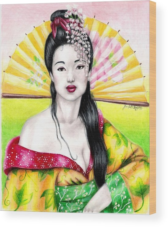 Geisha Wood Print featuring the drawing Spring Geisha by Scarlett Royal