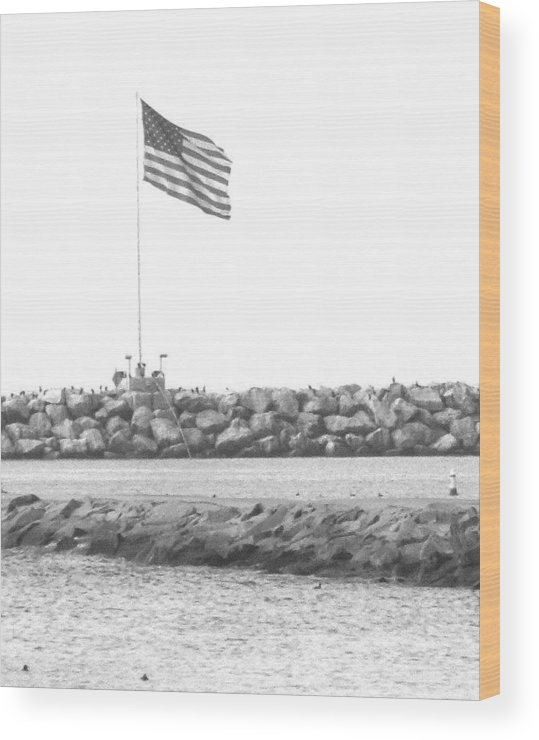 Flag Wood Print featuring the photograph Stands Alone by Shari Chavira