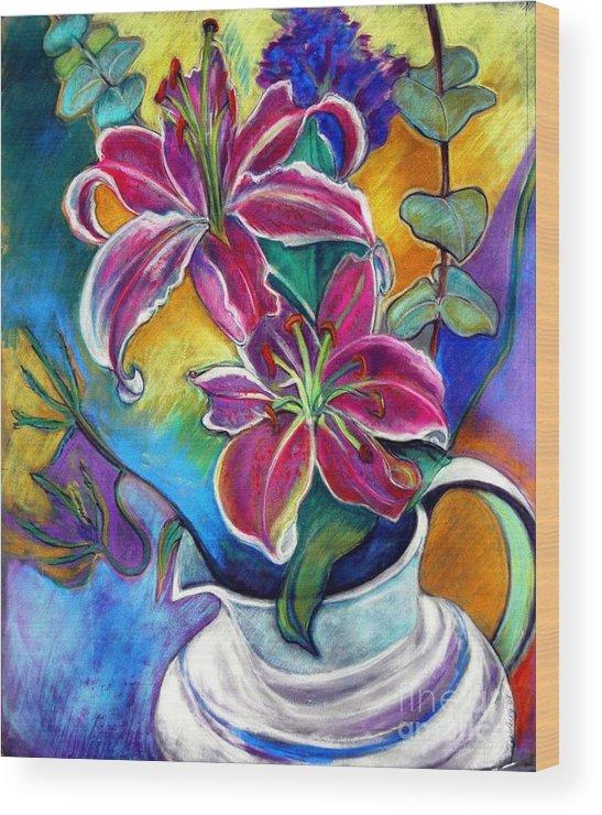 Still Life Wood Print featuring the pastel Stargazer Lilies by Jillian Goldberg