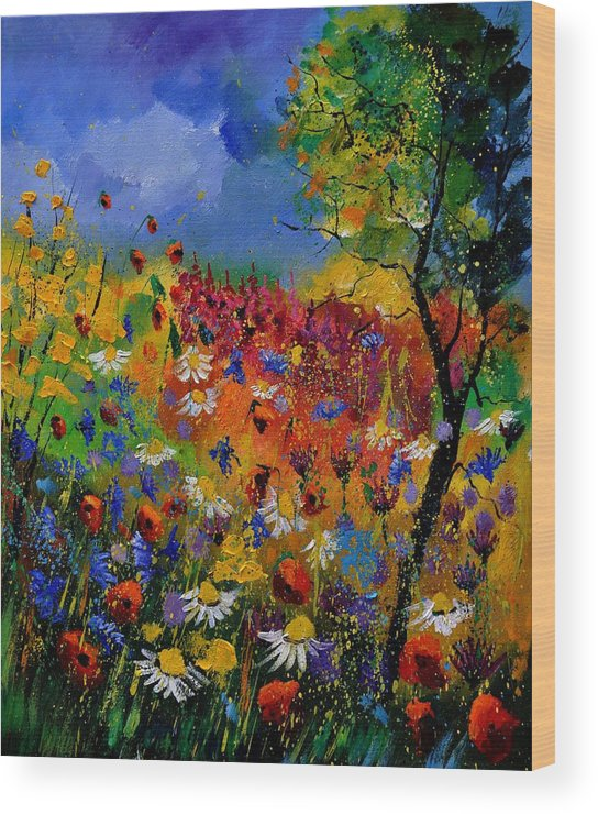 Flowers Wood Print featuring the painting Summer 670170 by Pol Ledent
