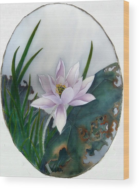 Chinese Silk Painting Wood Print featuring the painting Summer Days by Rayne Van Sing