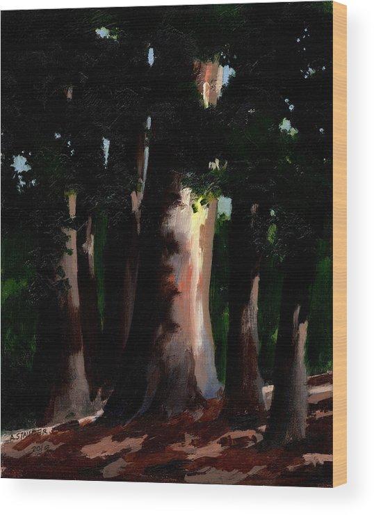 Sunlight Wood Print featuring the painting Sunlight And Shadows - Eucalyptus Majesties by Arthur Stauder
