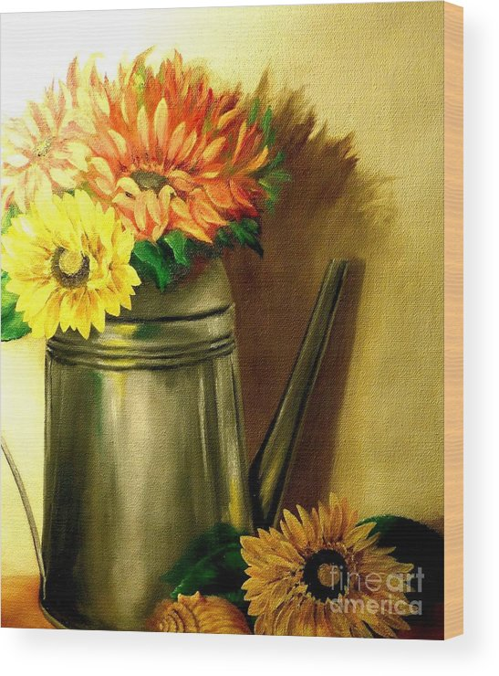 Still Life Wood Print featuring the painting Sunshine In A Can by Patricia Lang