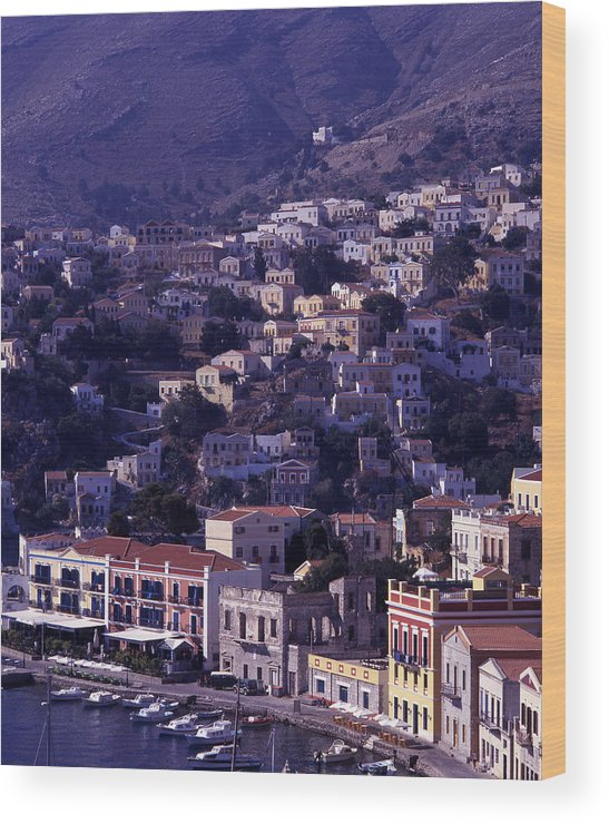 Europe; Greece; Greek Islands; Mediterranean; Dodecanese; Symi; Town; Simi; Yialos; Landscape Wood Print featuring the photograph Symi by Steve Outram