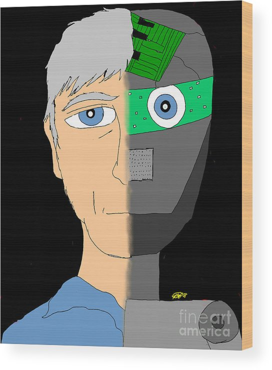Man Wood Print featuring the digital art The Android- Douglas Kerrigan by Karli Martin