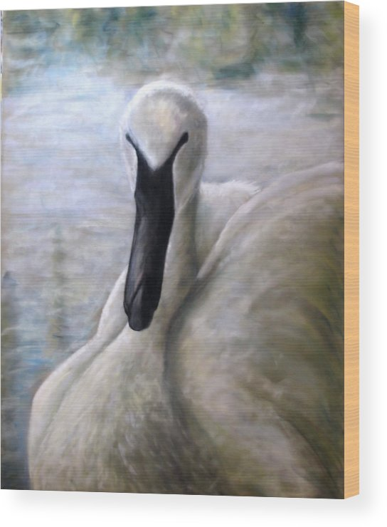 Swan Wood Print featuring the pastel The Dutchess by Wendie Thompson