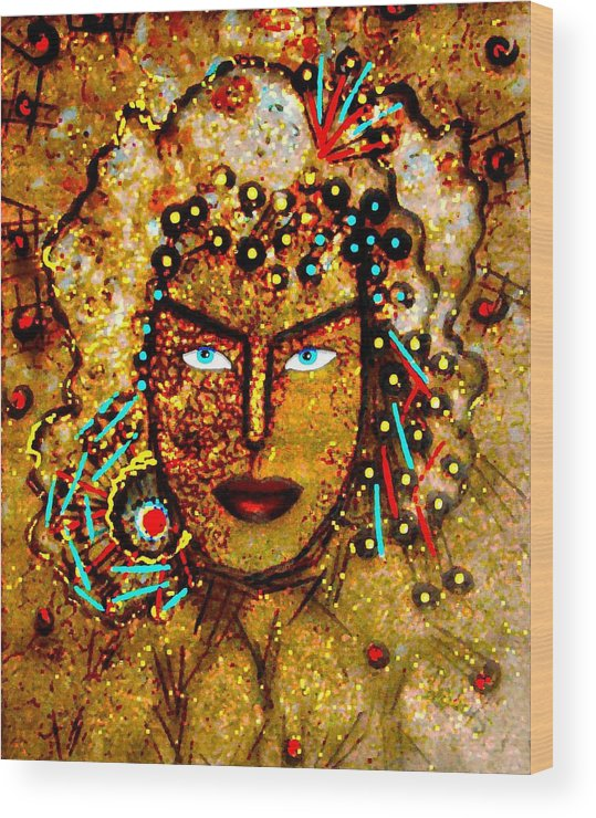 Goddess Wood Print featuring the painting The Golden Goddess by Natalie Holland