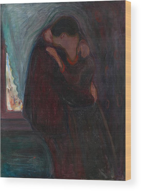 19th Century Norwegian Painters Wood Print featuring the painting The Kiss by Edvard Munch