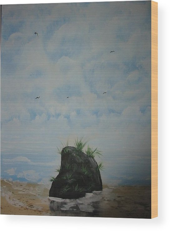 Acrylics Wood Print featuring the painting The Rock by Laurie Kidd
