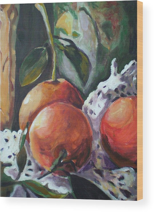 Still Life Wood Print featuring the painting Three Oranges by Aleksandra Buha
