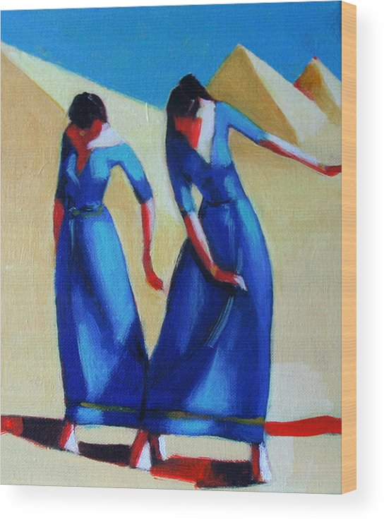 Figure Wood Print featuring the painting Two Dancers With Three Pyramids by Ihab Bishai