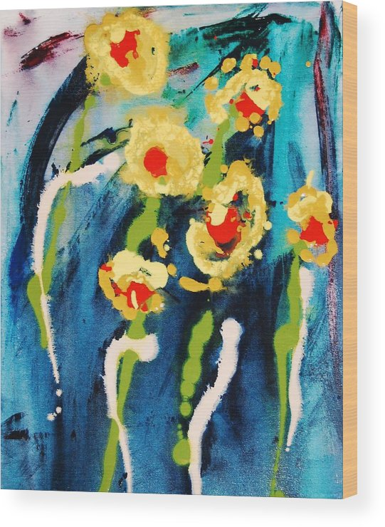 Abstract Wood Print featuring the painting Urban Garden by Lauren Luna