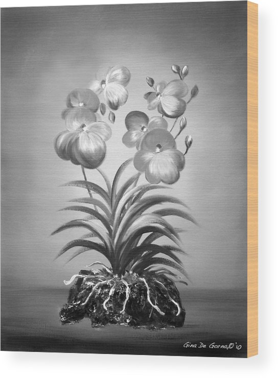 Black And White Wood Print featuring the painting Vanda Orchids In Black And White by Gina De Gorna