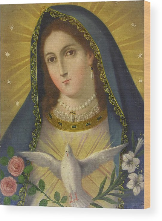 Religion Wood Print featuring the painting Virgen De La Paloma by Unknown