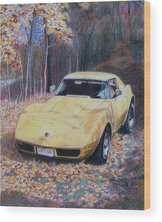 Car Wood Print featuring the mixed media Vrooom by Constance Drescher