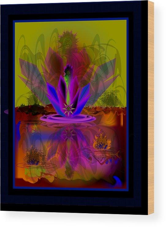 Wood Print featuring the digital art Waterplant2 by George Pasini