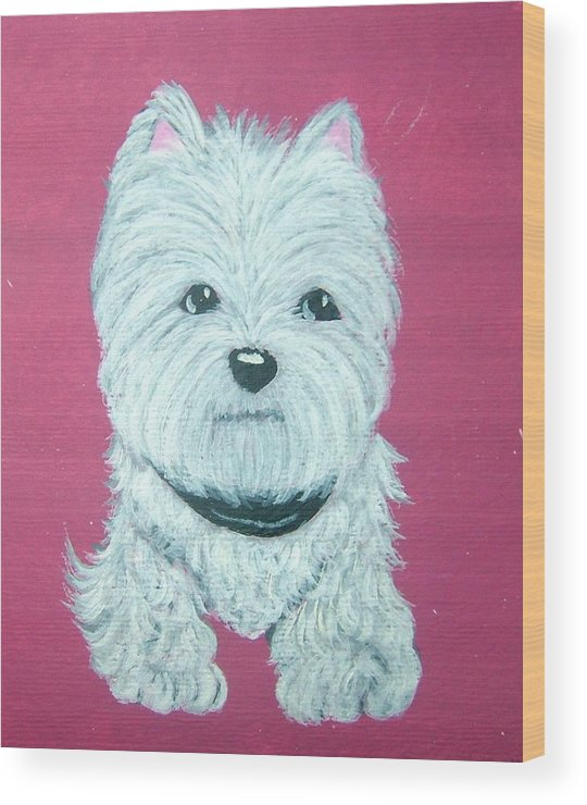 West Highland Terrier Wood Print featuring the painting Westie by Tammy Brown