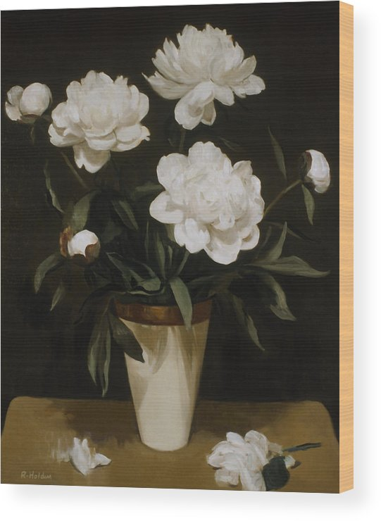 White Peonies Wood Print featuring the painting White Peonies In Cone-shaped Vase by Robert Holden